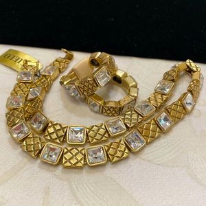 Vintage Cielo Patterned Gold And Rhinestone Set
